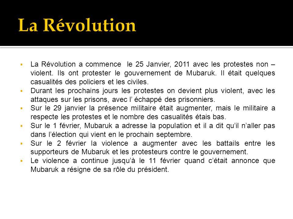 La Révolution a commence le 25 Janvier, 2011 avec les protestes non – violent.