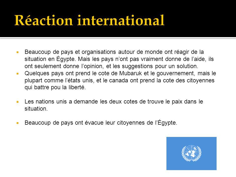 Beaucoup de pays et organisations autour de monde ont réagir de la situation en Égypte.