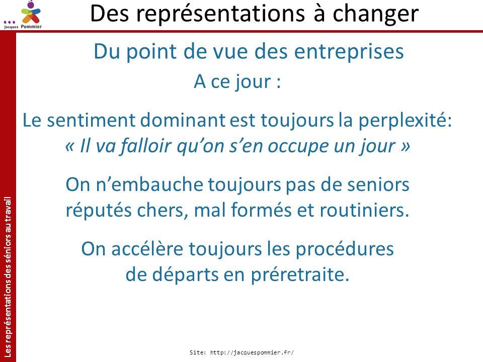 Les représentations des séniors au travail Site: http://jacquespommier.fr/ A ce jour : Le sentiment dominant est toujours la perplexité: « Il va fallo