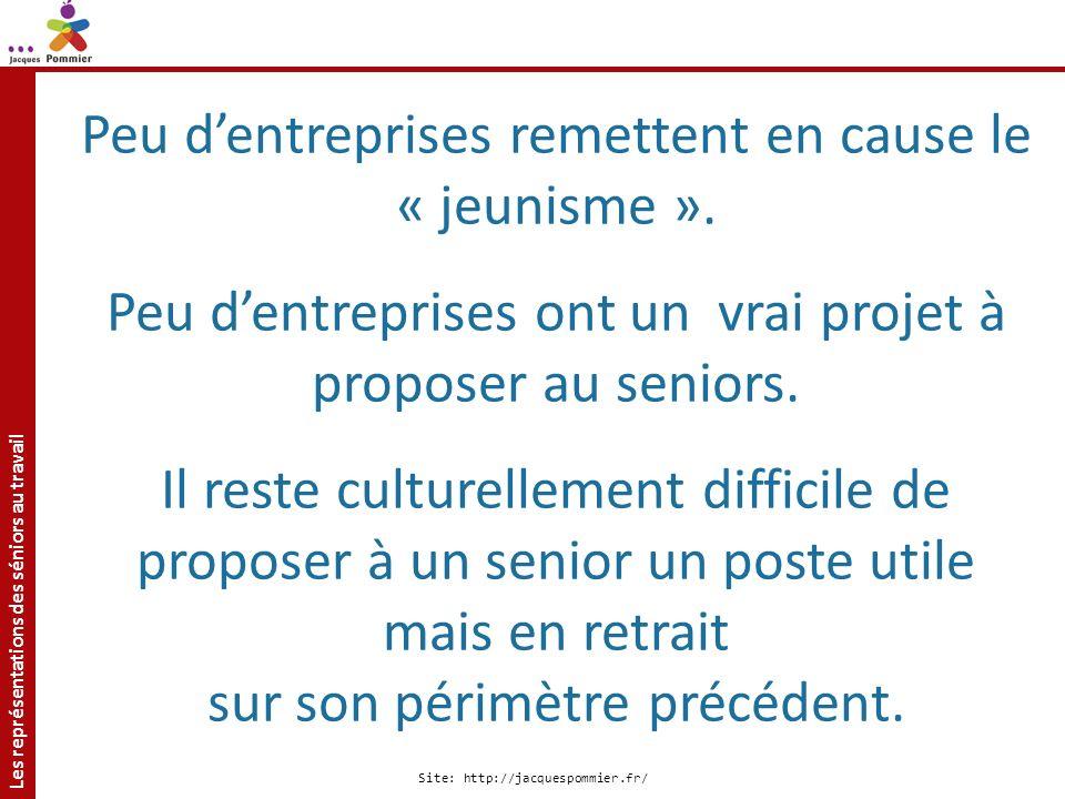 Les représentations des séniors au travail Site: http://jacquespommier.fr/ Peu dentreprises remettent en cause le « jeunisme ». Peu dentreprises ont u