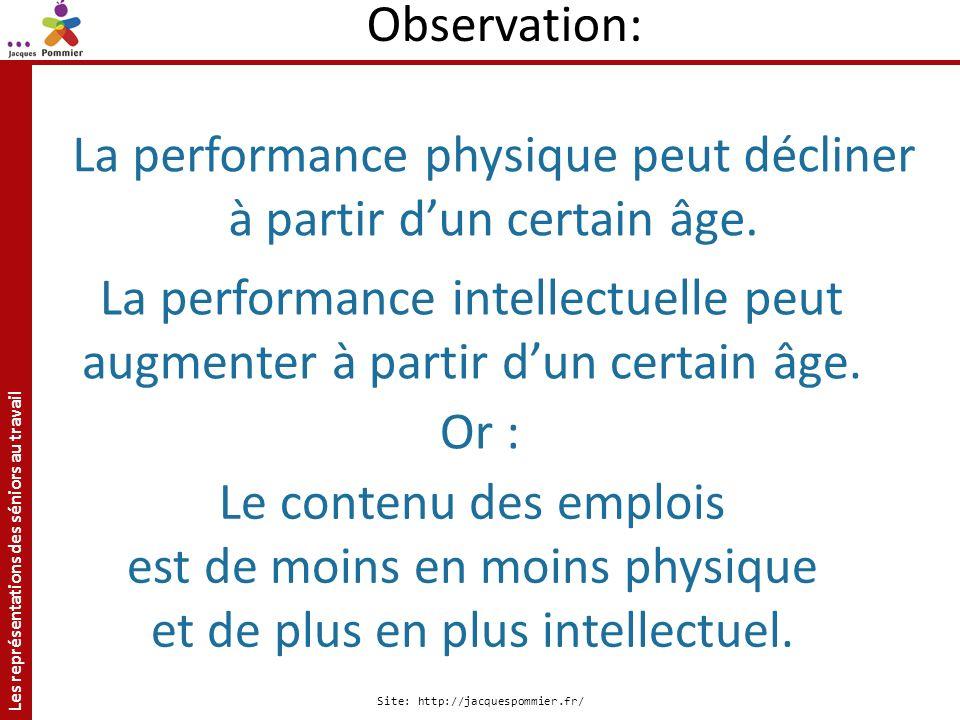 Les représentations des séniors au travail Site: http://jacquespommier.fr/ La performance physique peut décliner à partir dun certain âge. Le contenu