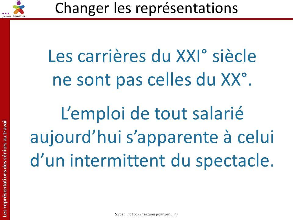Les représentations des séniors au travail Site: http://jacquespommier.fr/ Changer les représentations Les carrières du XXI° siècle ne sont pas celles