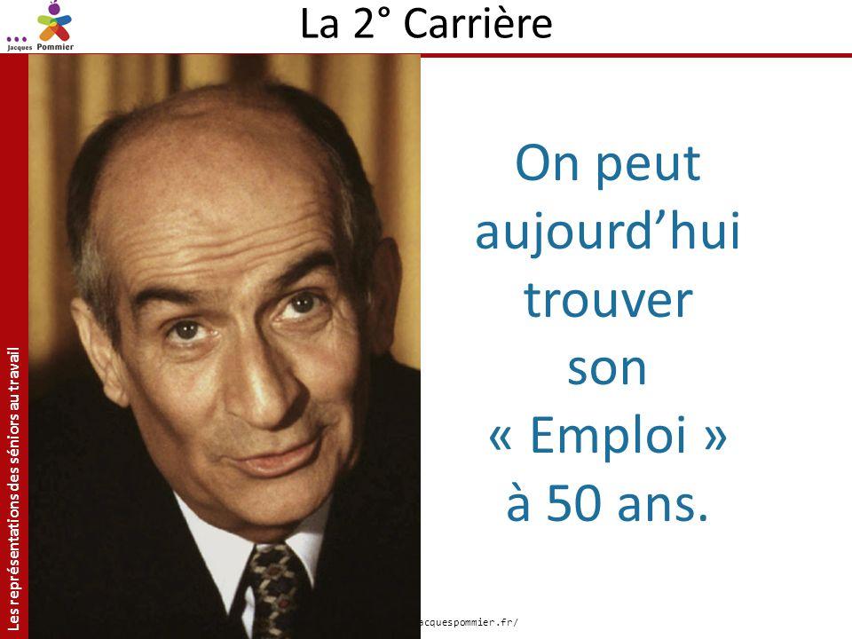 Les représentations des séniors au travail Site: http://jacquespommier.fr/ La 2° Carrière On peut aujourdhui trouver son « Emploi » à 50 ans.