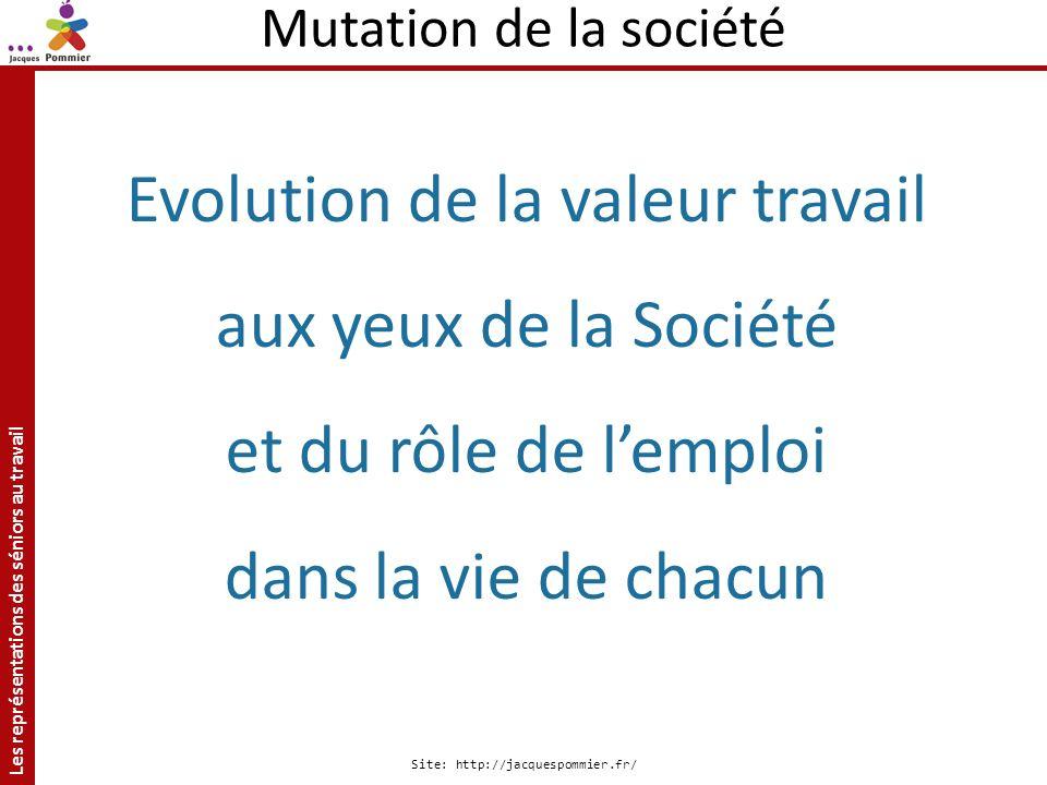 Les représentations des séniors au travail Site: http://jacquespommier.fr/ Mutation de la société Evolution de la valeur travail aux yeux de la Sociét
