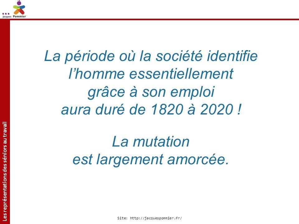 Les représentations des séniors au travail Site: http://jacquespommier.fr/ La période où la société identifie lhomme essentiellement grâce à son emplo