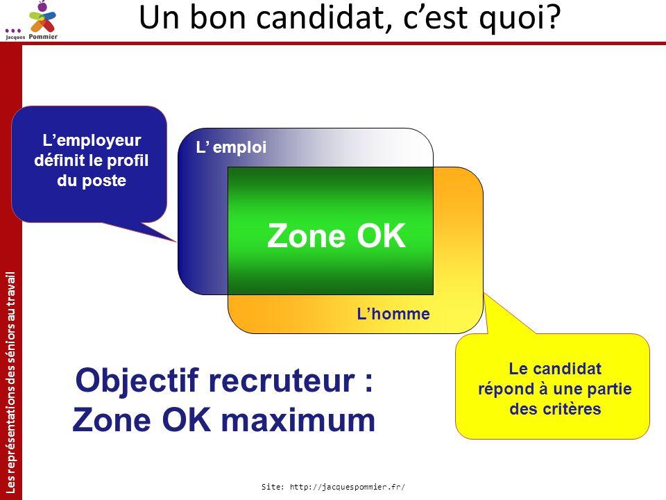 Les représentations des séniors au travail Site: http://jacquespommier.fr/ Zone OK L emploi Lhomme Lemployeur définit le profil du poste Le candidat r
