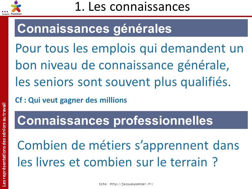 Les représentations des séniors au travail Site: http://jacquespommier.fr/ Connaissances générales Pour tous les emplois qui demandent un bon niveau d