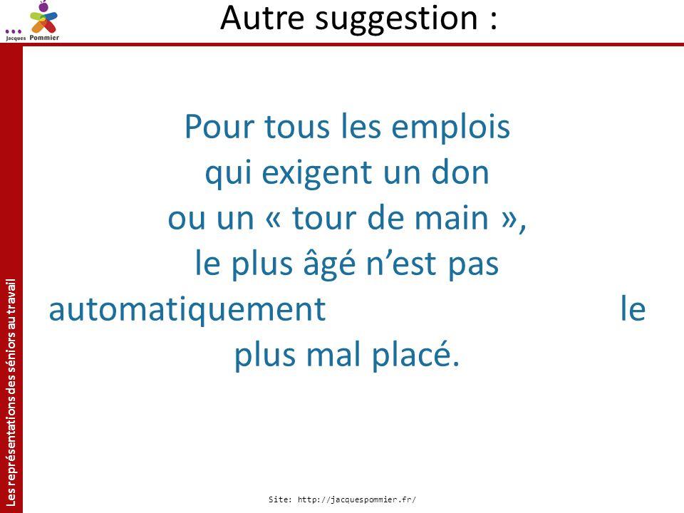 Les représentations des séniors au travail Site: http://jacquespommier.fr/ Pour tous les emplois qui exigent un don ou un « tour de main », le plus âg