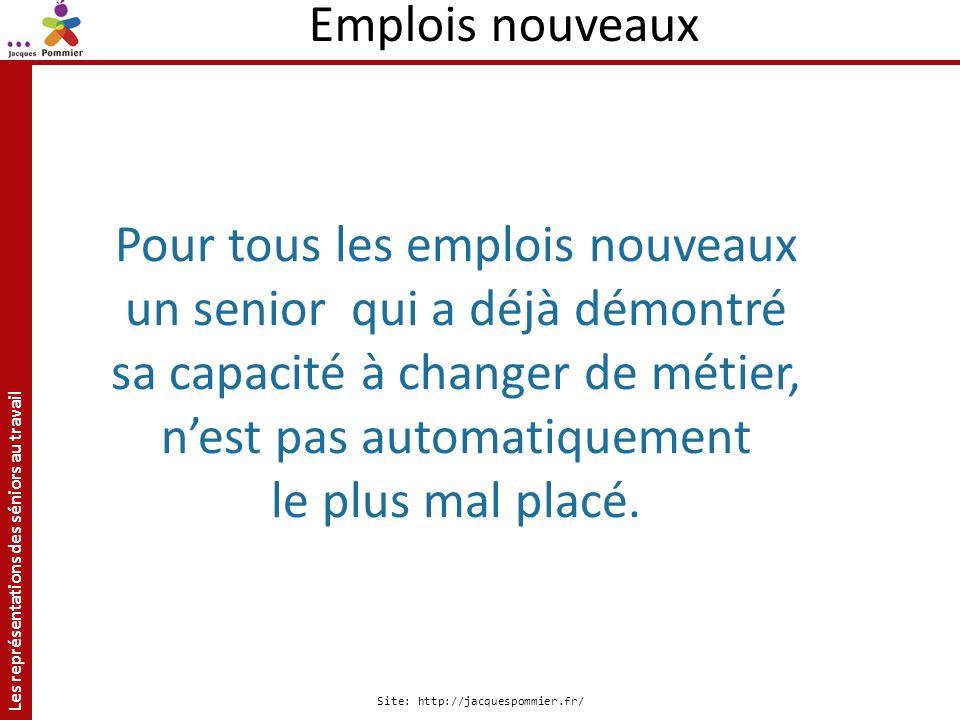 Les représentations des séniors au travail Site: http://jacquespommier.fr/ Pour tous les emplois nouveaux un senior qui a déjà démontré sa capacité à