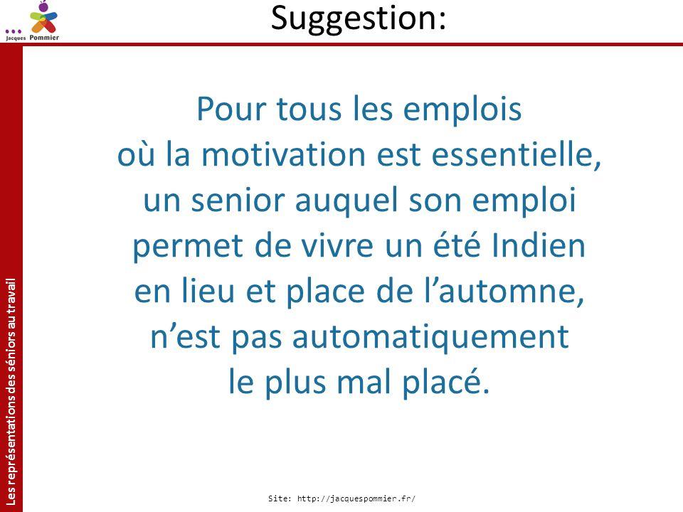 Les représentations des séniors au travail Site: http://jacquespommier.fr/ Pour tous les emplois où la motivation est essentielle, un senior auquel so