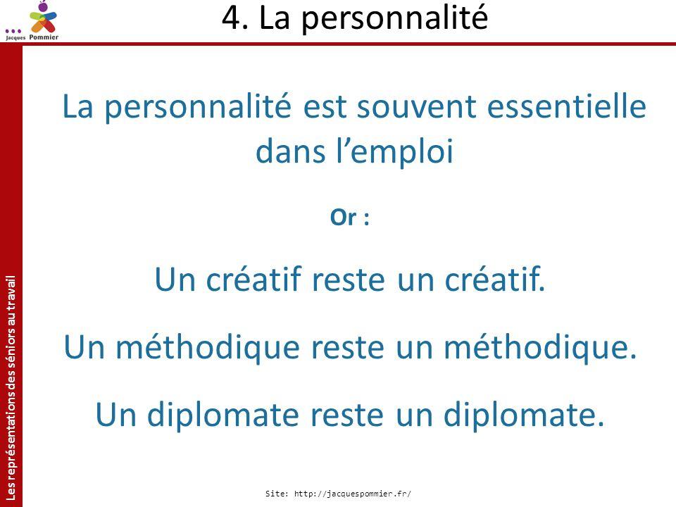 Les représentations des séniors au travail Site: http://jacquespommier.fr/ La personnalité est souvent essentielle dans lemploi Un créatif reste un cr