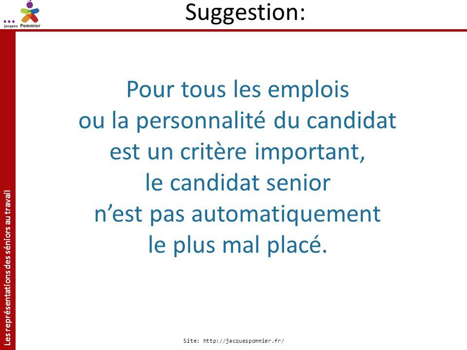Les représentations des séniors au travail Site: http://jacquespommier.fr/ Pour tous les emplois ou la personnalité du candidat est un critère importa