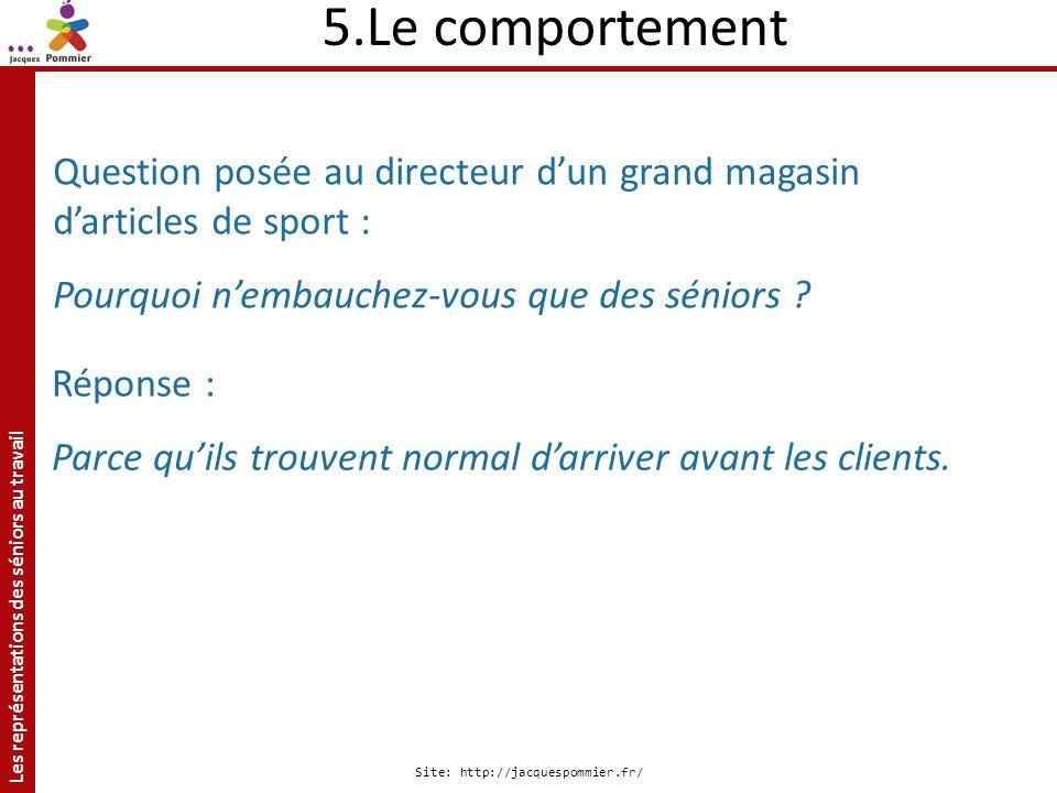 Les représentations des séniors au travail Site: http://jacquespommier.fr/ 5.Le comportement Question posée au directeur dun grand magasin darticles d