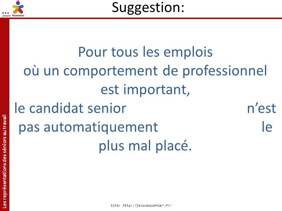 Les représentations des séniors au travail Site: http://jacquespommier.fr/ Pour tous les emplois où un comportement de professionnel est important, le