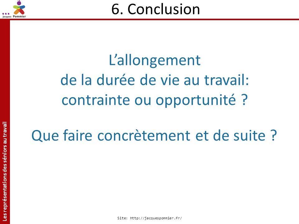 Les représentations des séniors au travail Site: http://jacquespommier.fr/ 6. Conclusion Lallongement de la durée de vie au travail: contrainte ou opp