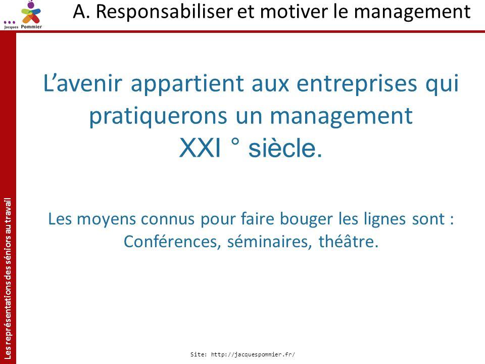 Les représentations des séniors au travail Site: http://jacquespommier.fr/ A. Responsabiliser et motiver le management Lavenir appartient aux entrepri