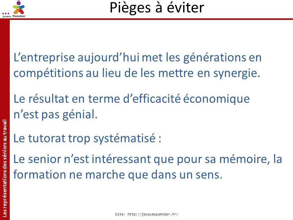 Les représentations des séniors au travail Site: http://jacquespommier.fr/ Lentreprise aujourdhui met les générations en compétitions au lieu de les m