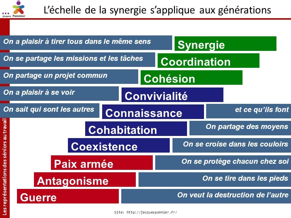 Les représentations des séniors au travail Site: http://jacquespommier.fr/ Antagonisme Paix armée Coexistence Cohabitation Connaissance Synergie Convi