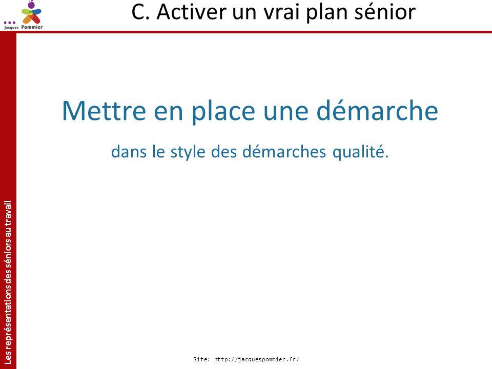 Les représentations des séniors au travail Site: http://jacquespommier.fr/ C. Activer un vrai plan sénior Mettre en place une démarche dans le style d