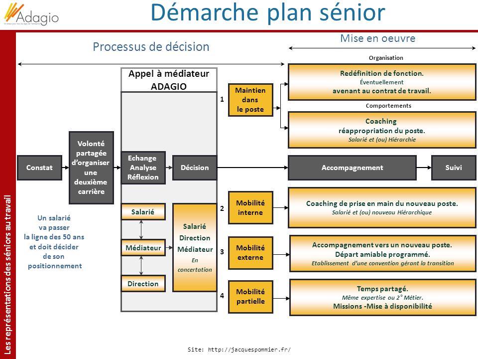 Les représentations des séniors au travail Site: http://jacquespommier.fr/ Processus de décision Constat Un salarié va passer la ligne des 50 ans et d