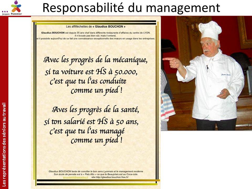 Les représentations des séniors au travail Site: http://jacquespommier.fr/ Responsabilité du management