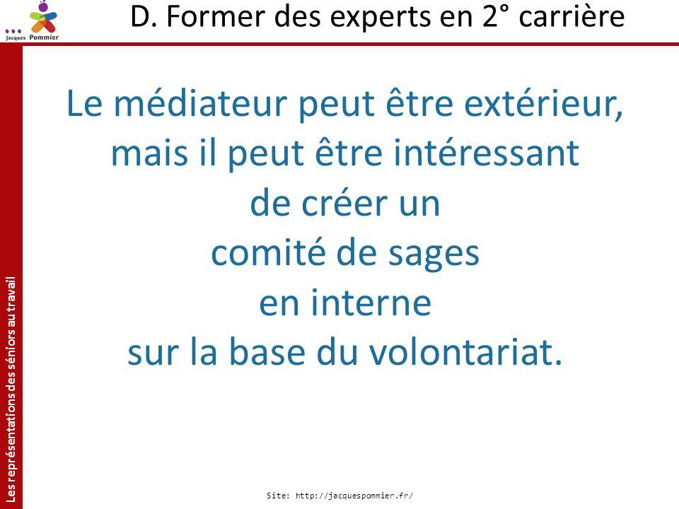 Les représentations des séniors au travail Site: http://jacquespommier.fr/ D. Former des experts en 2° carrière Le médiateur peut être extérieur, mais