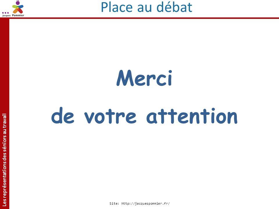 Les représentations des séniors au travail Site: http://jacquespommier.fr/ Merci de votre attention Place au débat