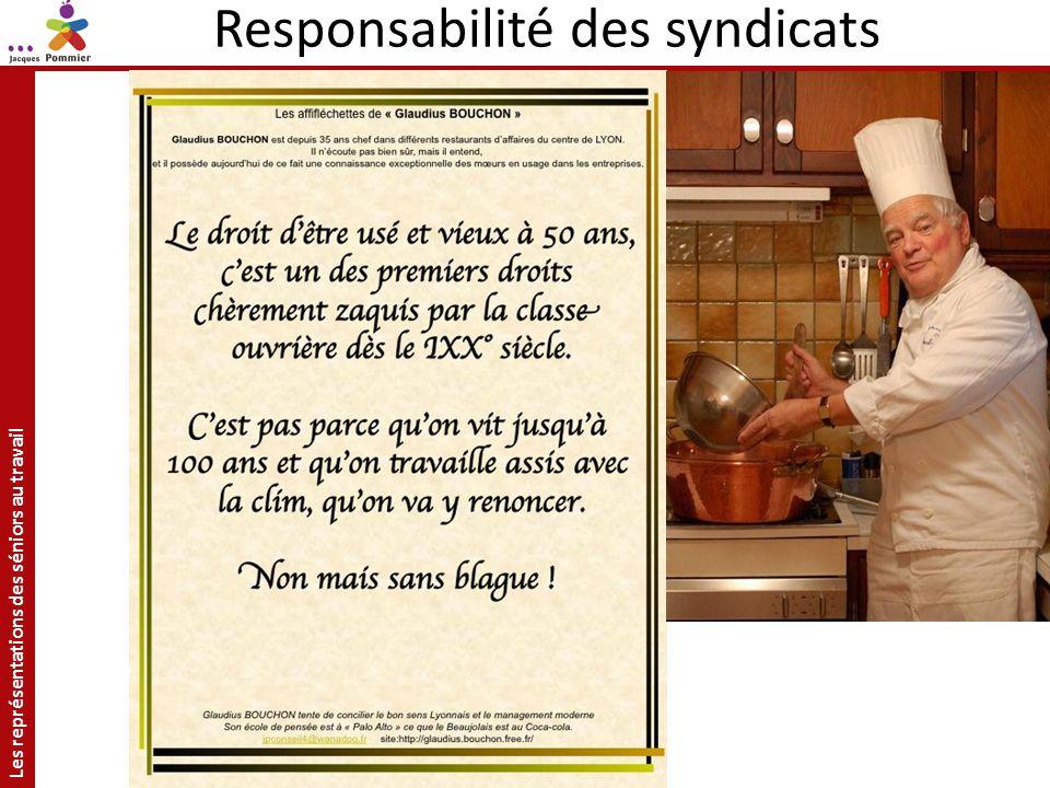Les représentations des séniors au travail Site: http://jacquespommier.fr/ Responsabilité des syndicats