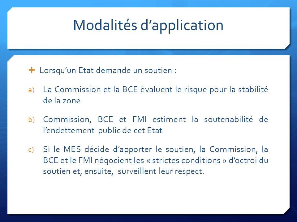 Modalités dapplication Lorsquun Etat demande un soutien : a) La Commission et la BCE évaluent le risque pour la stabilité de la zone b) Commission, BC