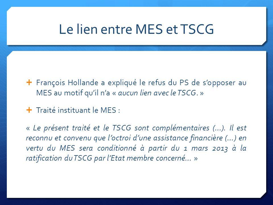 Le lien entre MES et TSCG François Hollande a expliqué le refus du PS de sopposer au MES au motif quil na « aucun lien avec le TSCG. » Traité institua