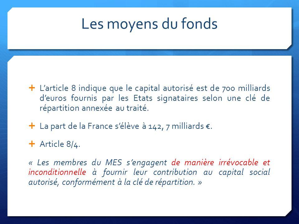 Les moyens du fonds Larticle 8 indique que le capital autorisé est de 700 milliards deuros fournis par les Etats signataires selon une clé de répartition annexée au traité.