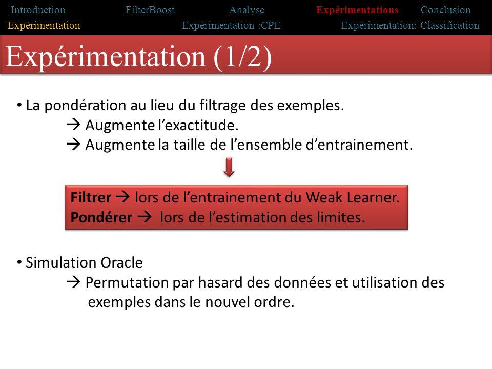 Introduction Travaux antérieurs Problématique & motivations Contribution Conclusion Expérimentation (1/2) La pondération au lieu du filtrage des exemples.