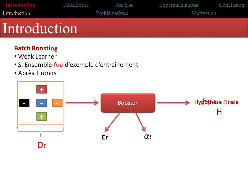 Introduction Travaux antérieurs Problématique & motivations Contribution Conclusion Introduction Analyse FilterBoost Expérimentations Conclusion Intro