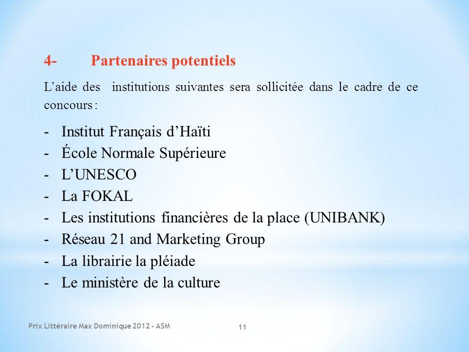 Prix Littéraire Max Dominique 2012 - ASM 11 4-Partenaires potentiels Laide des institutions suivantes sera sollicitée dans le cadre de ce concours : -