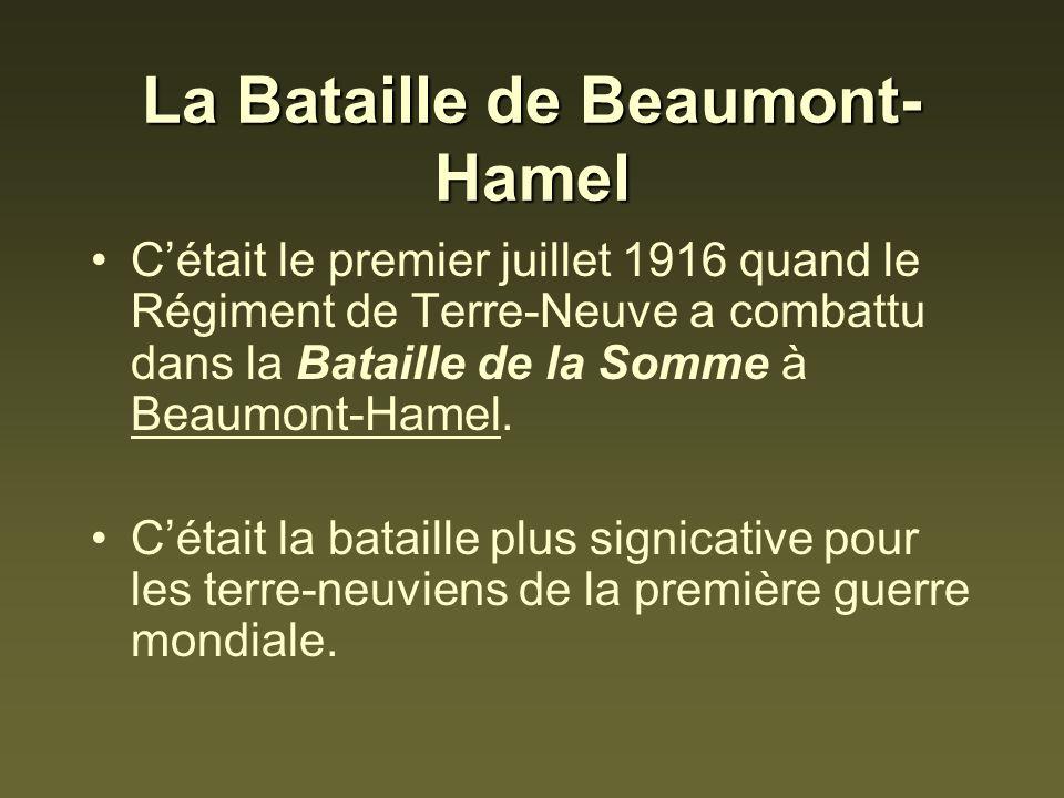 La Bataille de Beaumont- Hamel Cétait le premier juillet 1916 quand le Régiment de Terre-Neuve a combattu dans la Bataille de la Somme à Beaumont-Hame