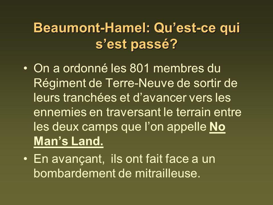 Beaumont-Hamel: Quest-ce qui sest passé? On a ordonné les 801 membres du Régiment de Terre-Neuve de sortir de leurs tranchées et davancer vers les enn