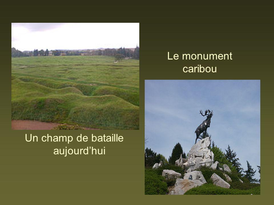 Un champ de bataille aujourdhui Le monument caribou