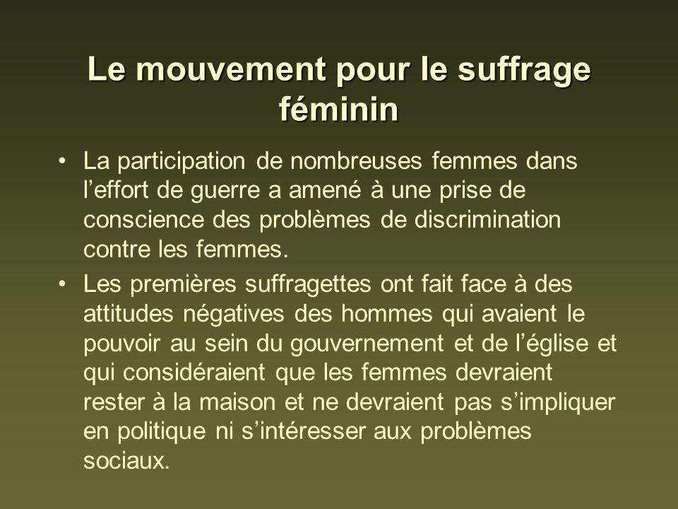 Le mouvement pour le suffrage féminin La participation de nombreuses femmes dans leffort de guerre a amené à une prise de conscience des problèmes de discrimination contre les femmes.