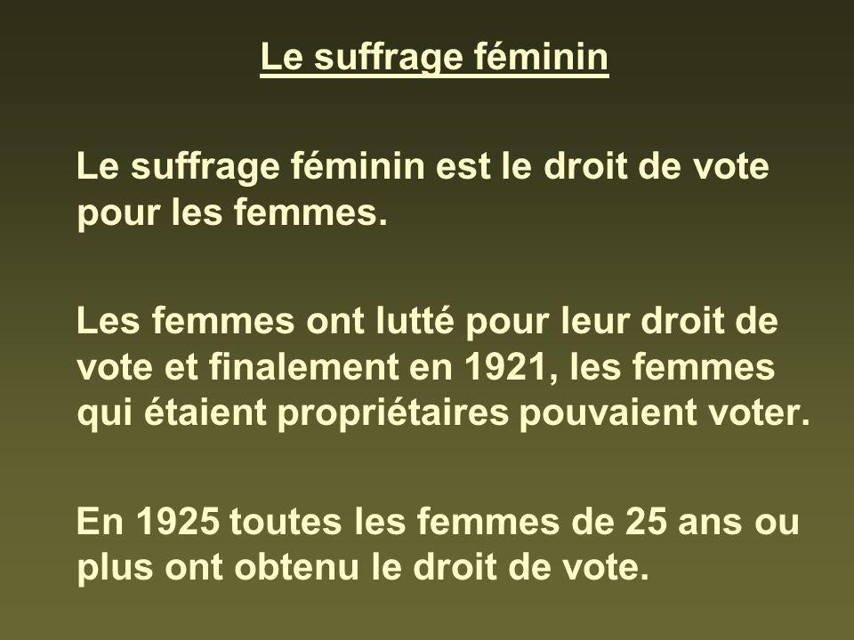 Le suffrage féminin Le suffrage féminin est le droit de vote pour les femmes. Les femmes ont lutté pour leur droit de vote et finalement en 1921, les