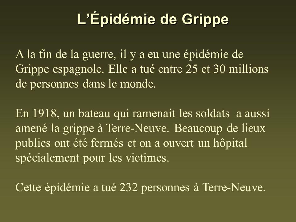 LÉpidémie de Grippe A la fin de la guerre, il y a eu une épidémie de Grippe espagnole. Elle a tué entre 25 et 30 millions de personnes dans le monde.