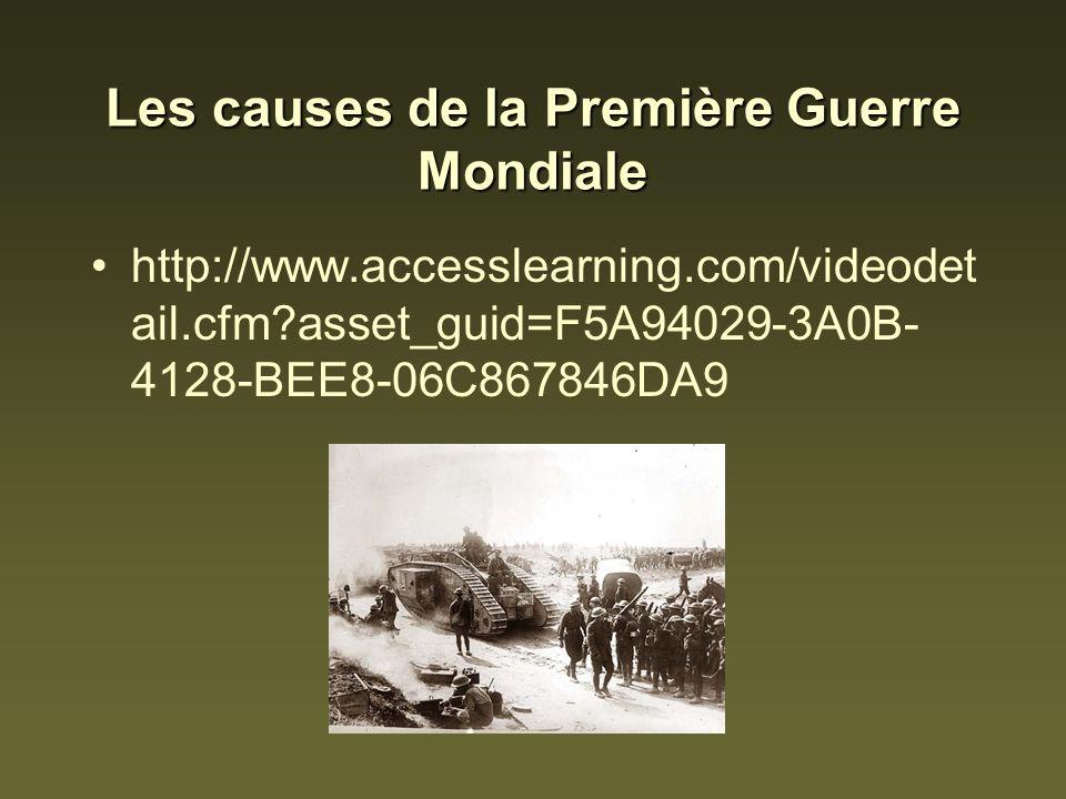 Les causes de la Première Guerre Mondiale http://www.accesslearning.com/videodet ail.cfm?asset_guid=F5A94029-3A0B- 4128-BEE8-06C867846DA9