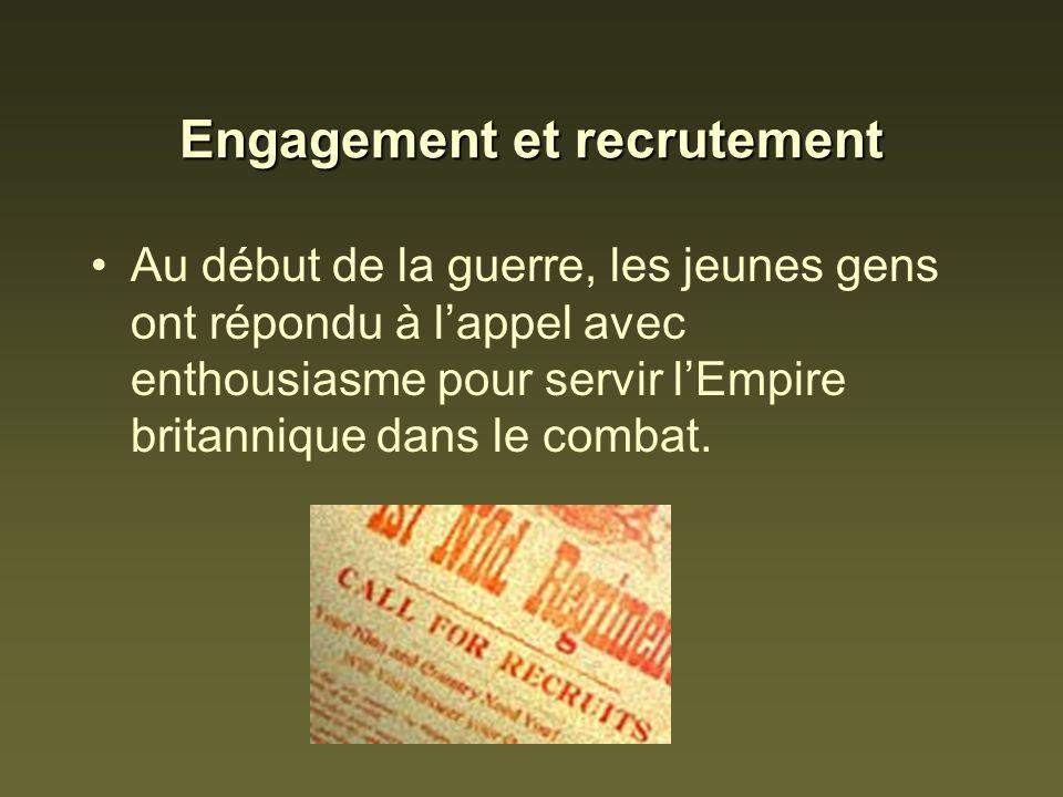 Engagement et recrutement Au début de la guerre, les jeunes gens ont répondu à lappel avec enthousiasme pour servir lEmpire britannique dans le combat