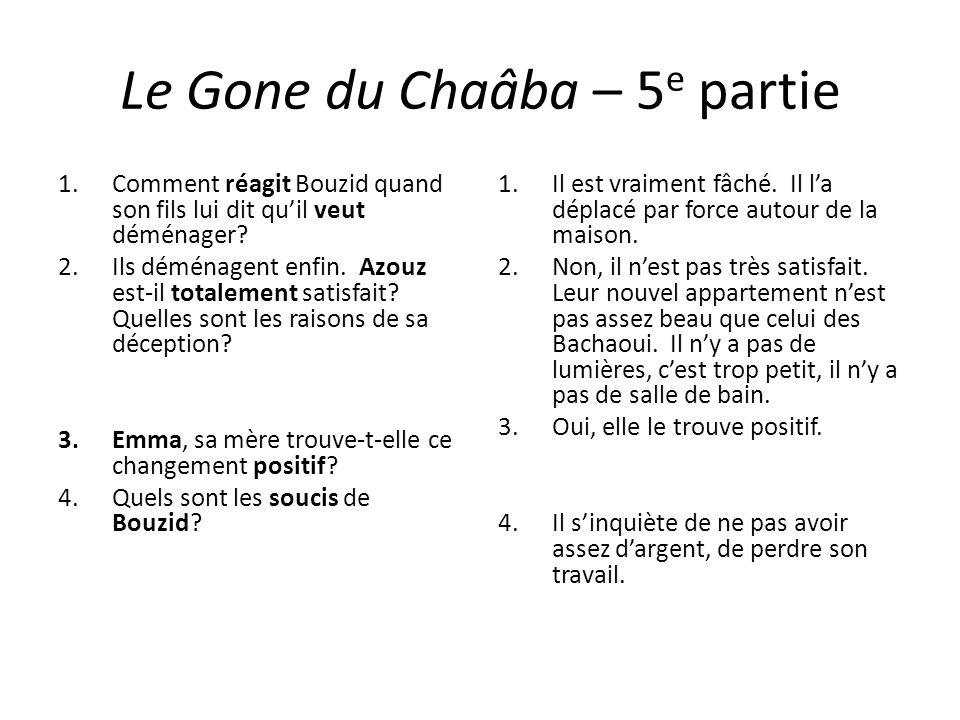 Le Gone du Chaâba – 5 e partie 1.Comment réagit Bouzid quand son fils lui dit quil veut déménager? 2.Ils déménagent enfin. Azouz est-il totalement sat