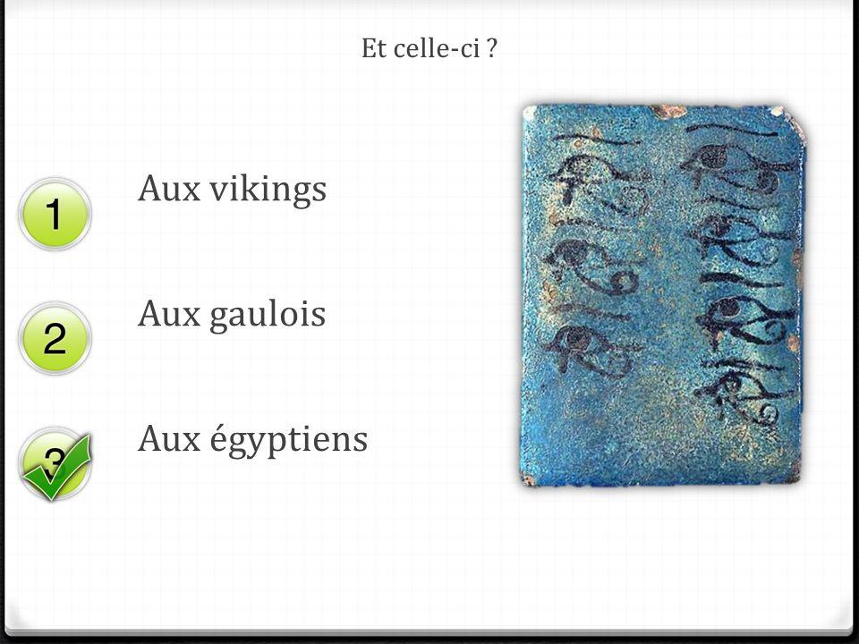 Et celle-ci ? Aux vikings Aux gaulois Aux égyptiens