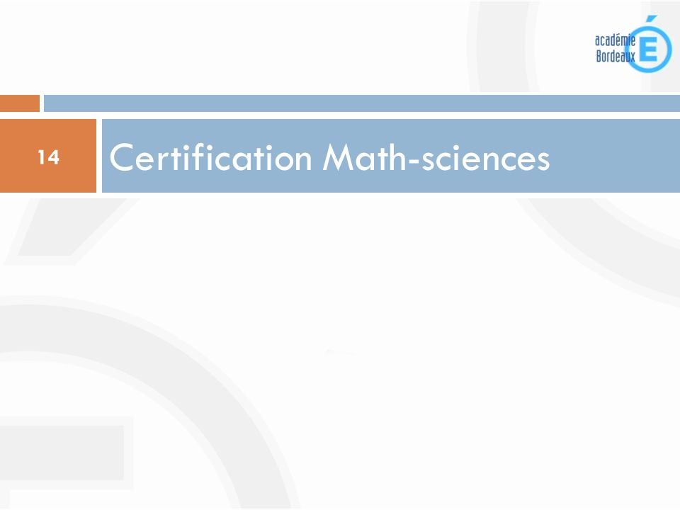 Certification Math-sciences 14