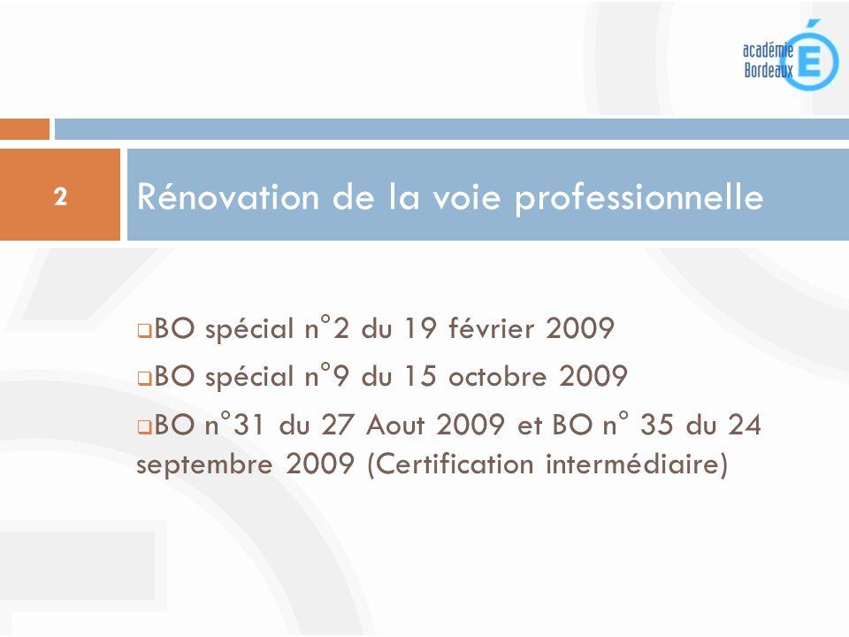 BO spécial n°2 du 19 février 2009 BO spécial n°9 du 15 octobre 2009 BO n°31 du 27 Aout 2009 et BO n° 35 du 24 septembre 2009 (Certification intermédia