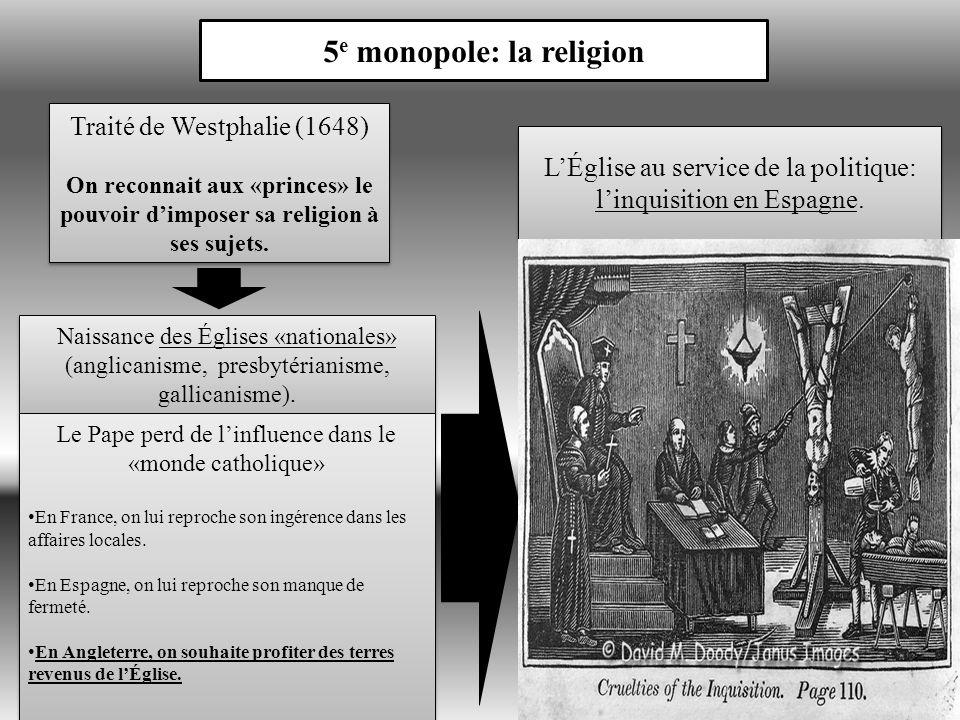 5 e monopole: la religion Traité de Westphalie (1648) On reconnait aux «princes» le pouvoir dimposer sa religion à ses sujets.