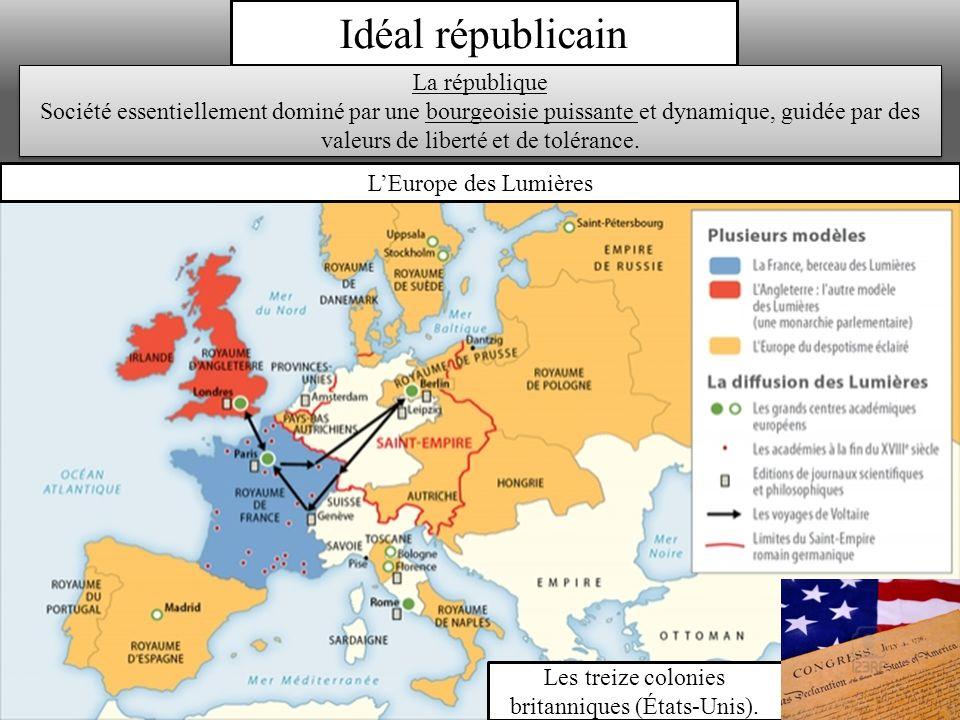 Idéal républicain LEurope des Lumières Les treize colonies britanniques (États-Unis).