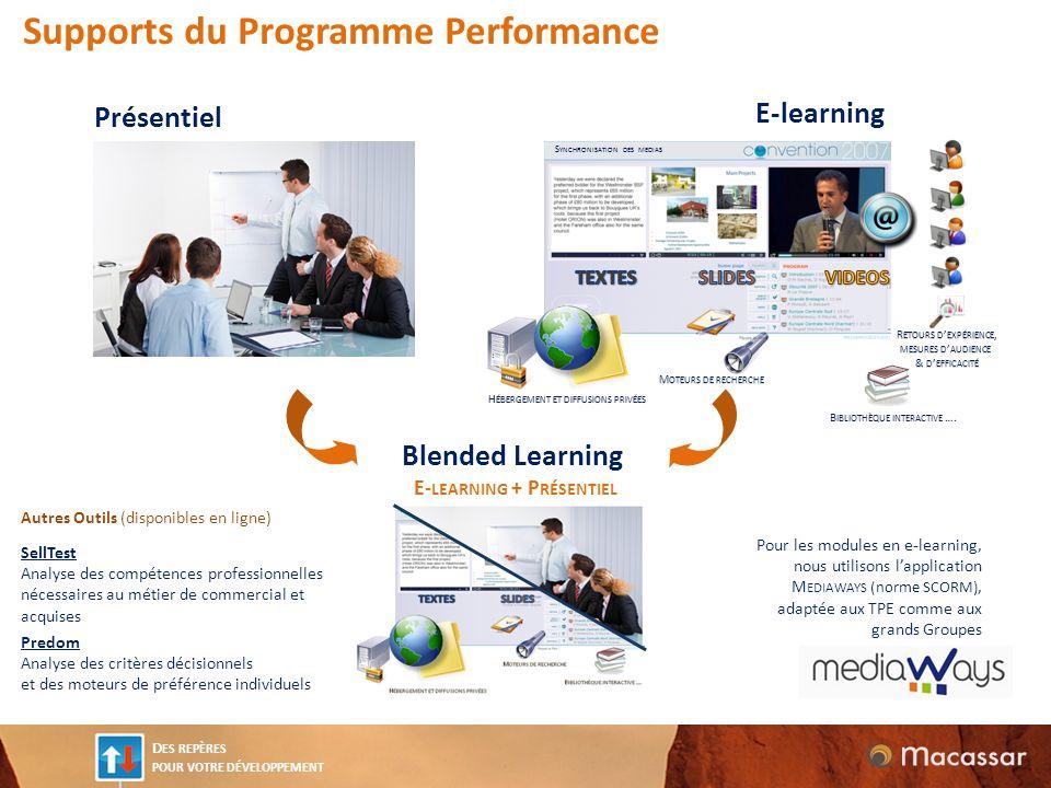 D ES REPÈRES POUR VOTRE DÉVELOPPEMENT E-learning Présentiel Blended Learning E- LEARNING + P RÉSENTIEL Supports du Programme Performance Pour les modu