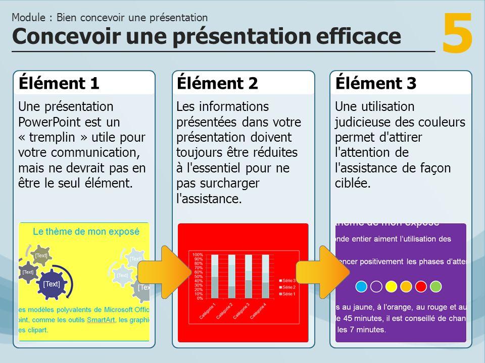 5 Élément 1 Une présentation PowerPoint est un « tremplin » utile pour votre communication, mais ne devrait pas en être le seul élément.